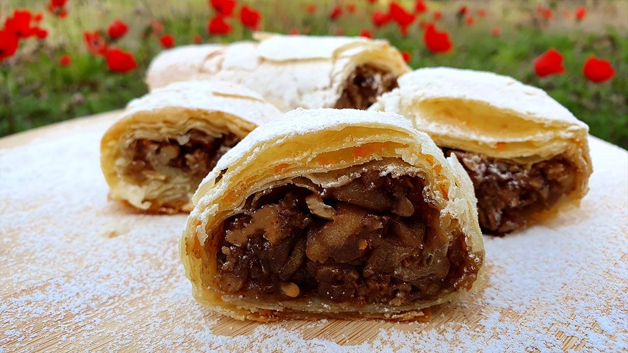 Pastry filled with apples and nuts